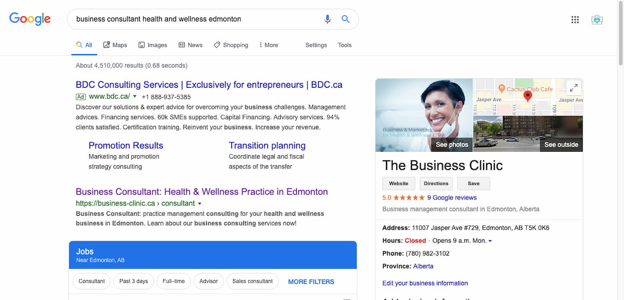 Google Business SEO First Page of Google Search Engine Optimization Edmonton